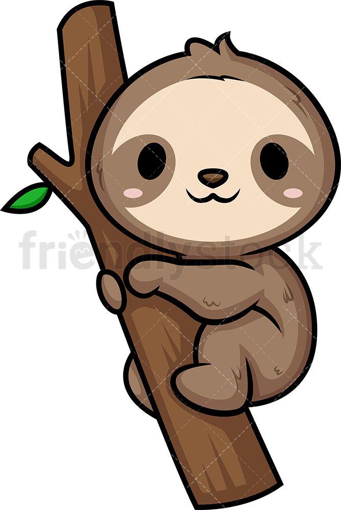Chibi Kawaii Sloth Clipart Cartoon Vector Friendlystock Sloth Cartoon Cute Animal Drawings Kawaii Cute Baby Sloths