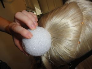 Sailor Moon wig tutorial on how to make your own odango from foam balls and extra wefts.