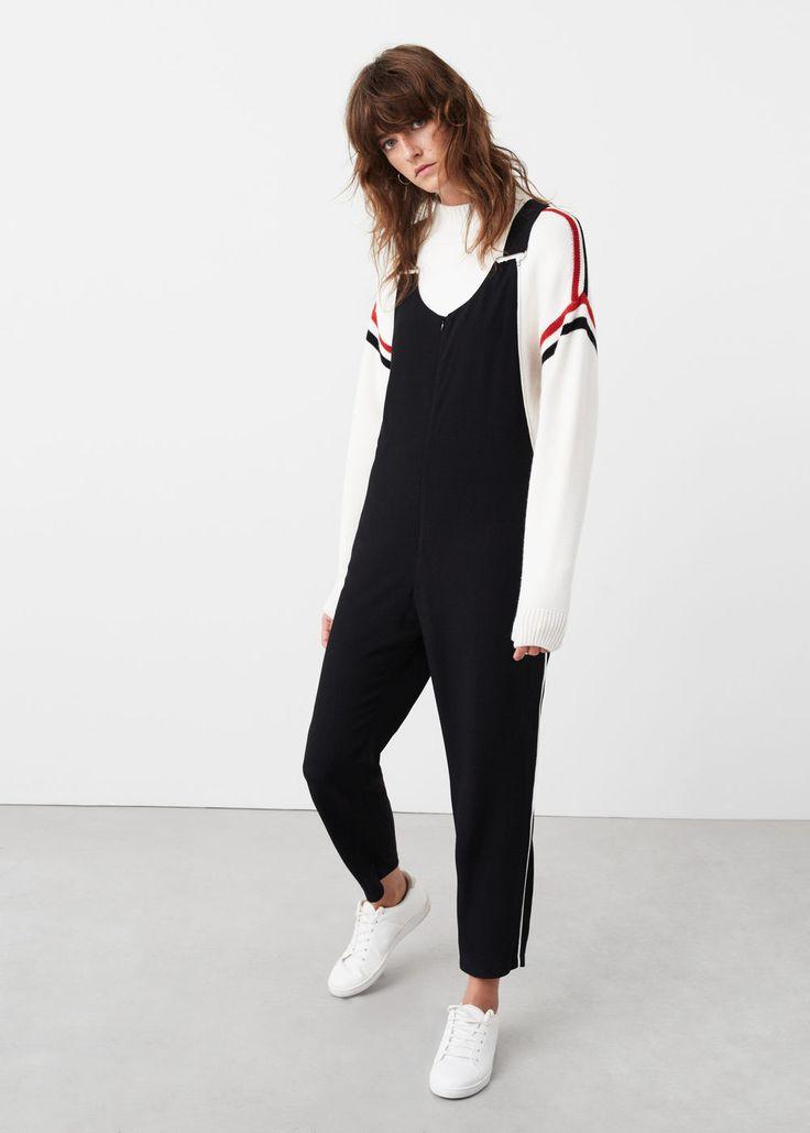 Contrast trim jumpsuit | MANGO