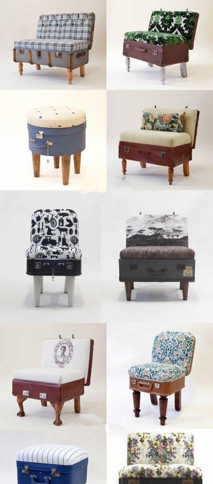 2 2 cute. Have many suitcases. can't you just see the LV scattered with these chairs? The stories they'll tell....DIY Suitcase Furniture