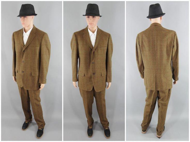 "Original 1940s Vintage Mens Brown Plaid Wool Business Suit Size 46"" No Flaws #Boyds #Business"
