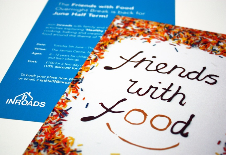 """Friends with food"" flyer directed, photographed and designed for Inroads Essex"