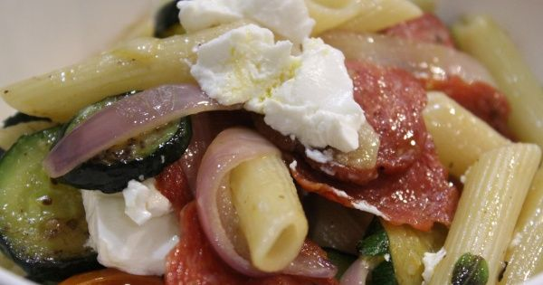 Penne Pasta with Romano Salami, Zucchini, Cherry Tomatoes and Goats Cheese