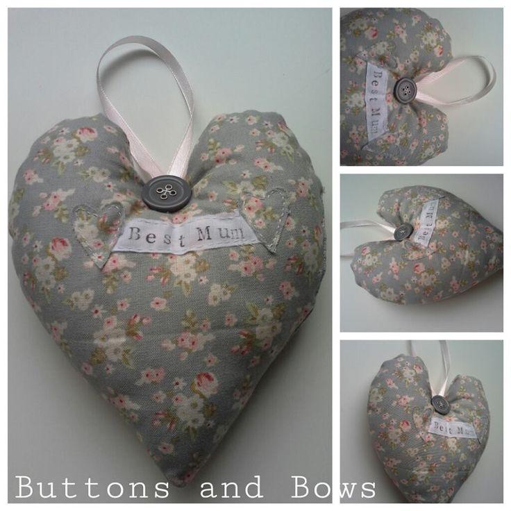 Fabric personalised lavender hearts . www.facebook.com/buttonsandbowshandmadegifts