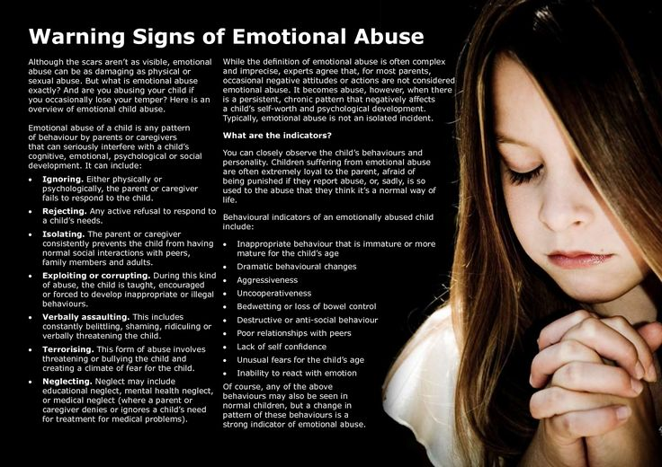 Physical signs of emotional abuse in adults have