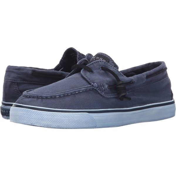 Sperry Bahama 2-Eye Washed (Navy) Women's Lace up casual Shoes ($25) ❤ liked on Polyvore featuring shoes, navy, sperry shoes, deck shoes, eyelets shoes, grommet shoes and grip shoes