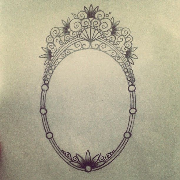 Unfinished mirror or frame tattoo design.