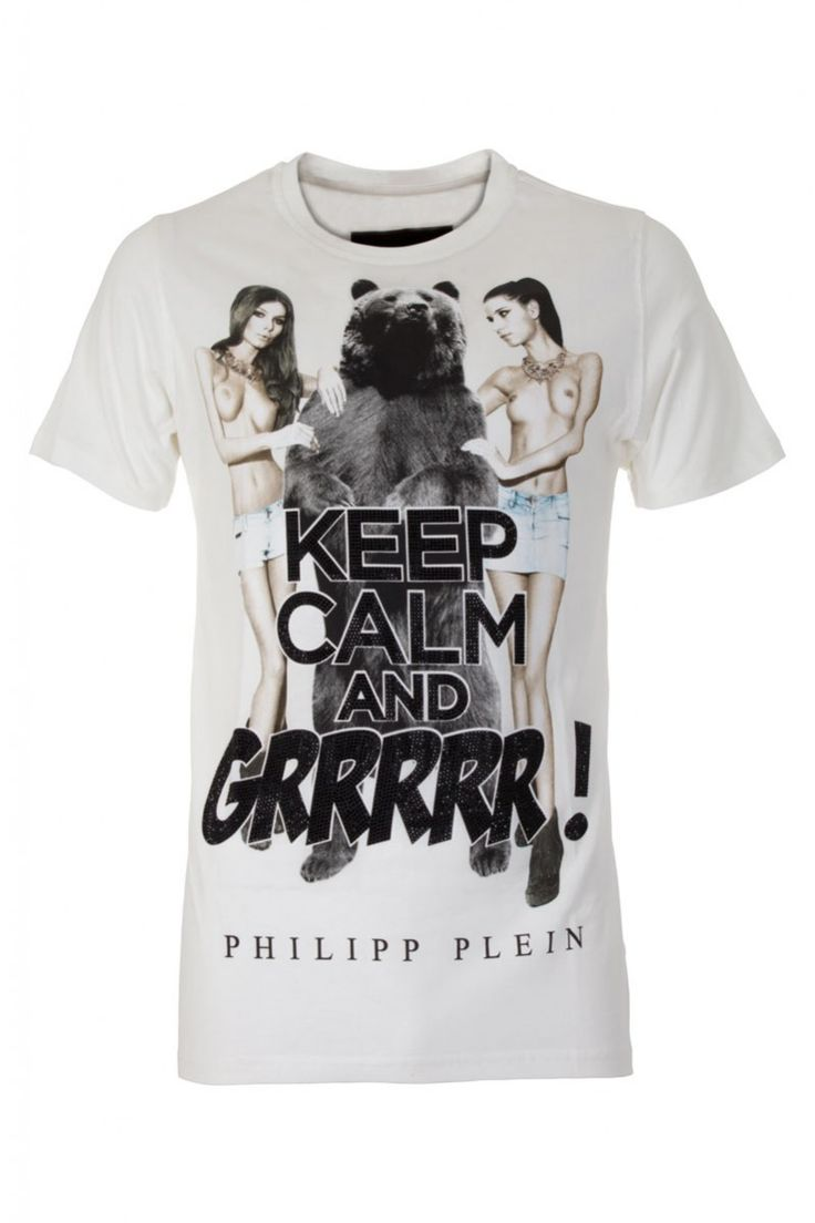 Keep calm and wear PHILIPP PLEIN. Irreverent t-shirt with a sexy print on the front. Browse the complete Philipp Plein collection online at Boudi UK. Philipp Plein is pure luxury with his latest Menswear Collection embodying the designers rebel streak, and glamorous ideals making thePhilipp Plein brand instantly recognisable. FW14-HM342119