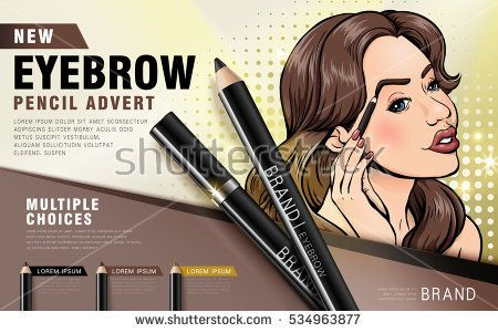 new eyebrow pencil advert ad, retro comic woman using the eyebrow pencil product, colorful picture, 3d illustration
