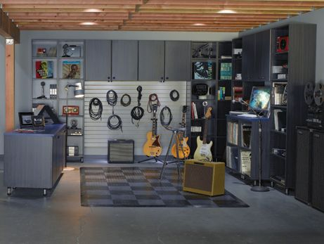 Add some color and a drum-set and it's the perfect over the garage music room!