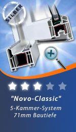 Novo-Classic ist unser günstigstes Fenster. Es kann mit einer Zweischeiben und Dreischeibenverglasung ausgerüstet werden. Auf der Seite http://www.fensterhandel.de/konfigurator/ kann man sofort die U-Werte sehen. Unser Novo-Classic ist aus dem Fensterprofil von Inoutic (vormals Thyssen) gebaut. Gefertigt wird dieses hochwertige Fenster von der Firma Feba. Fensterhandel.de ist im Übrigen der größte Feba-Händler Europas.