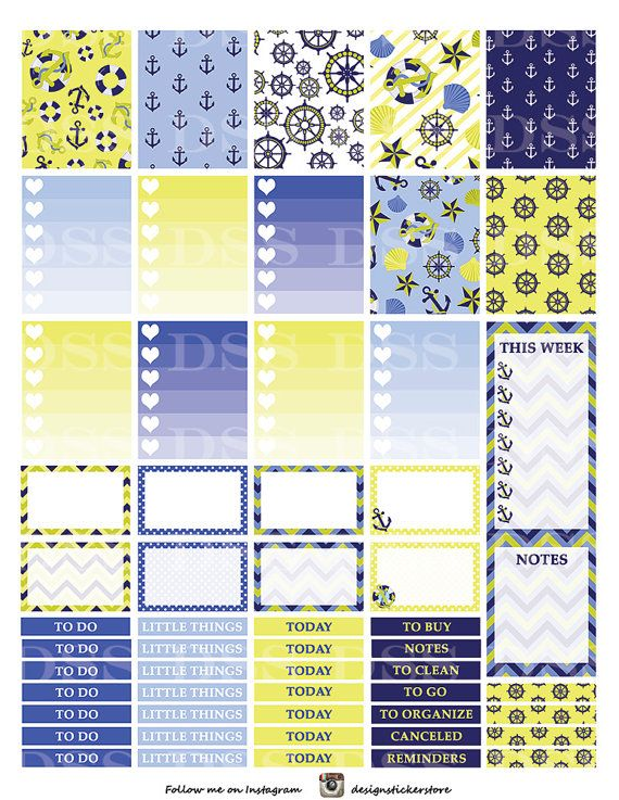 50% OFF SALE Lime & Blue Nautical Stickers/Printable Planner