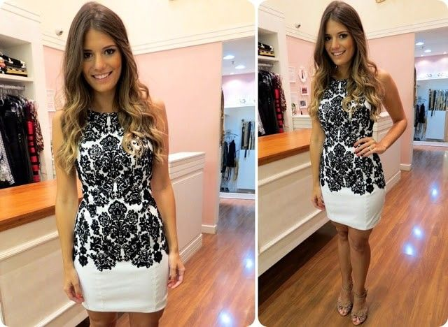 vestidos de renda preto e branco curto 1
