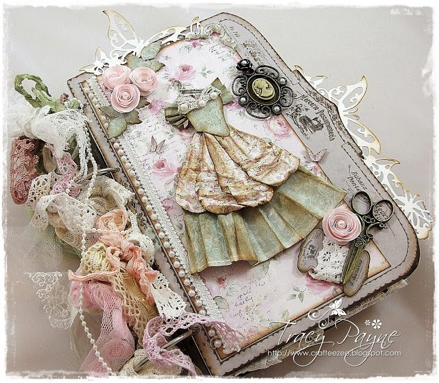 """""""Vintage"""" look papers and lace book by Crafteezee."""