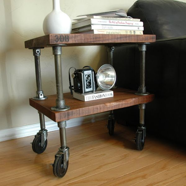 It's the size of an end table, but would work as a small shelf, nightstand, or rolling cart. Dimensions: 14″ x 22″ x 23″ tall Weight: 37 lbs The wood is solid 1.5″ thick mahogany Locking 4″ casters