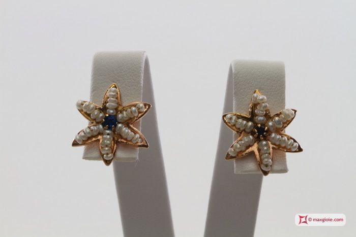 Star Earrings [Pearls, Sapphire] in Gold Plated Silver - Orecchini Stella [Perle, Zaffiro] in Argento placcato Oro #jewelery #luxury #trend #fashion #style #italianstyle #lifestyle #gold #store #collection #shop #shopping  #showroom #mode #chic #love #loveit #lovely #style #all_shots #beautiful #pretty #madeinitaly