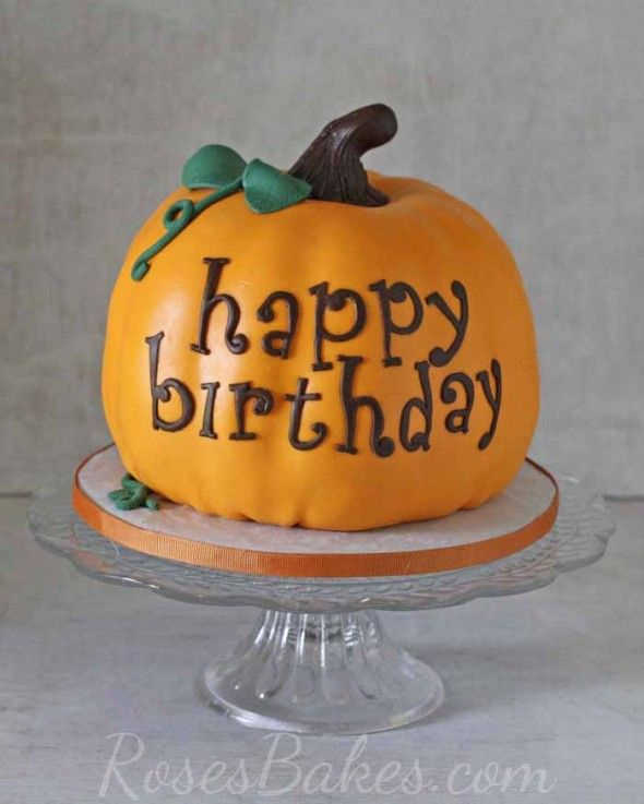 "Pumpkin Cake. Come see a sweet little ""Happy Birthday"" Pumpkin Cake and cupcakes for a fall birthday celebration!"
