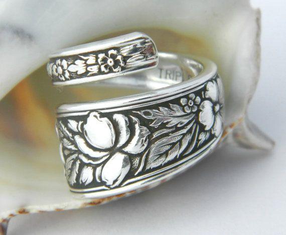 Fancy Antique Silver Spoon Ring Silverware by CaliforniaSpoonRings