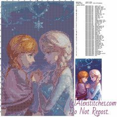Anna and Elsa Disney Princess free cross stitch pattern 125x197 50 colors