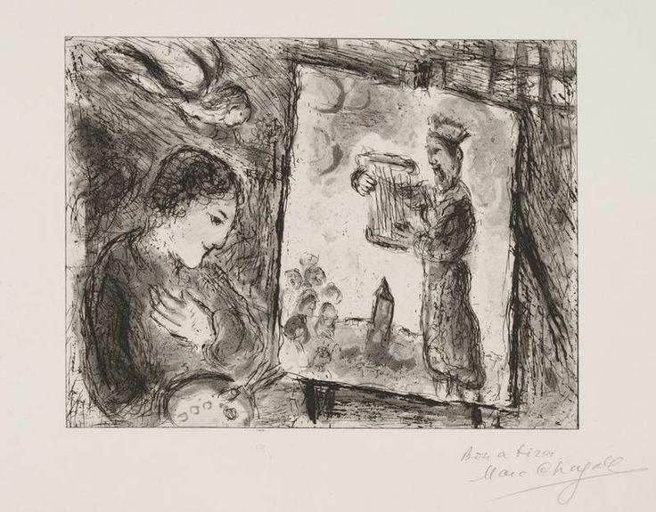 La Storia dell' Esodo: Mosè giunse al tempio i capi dei sacerdoti e gli anziani del popolo  si accostarono a lui...di Marc Chagall 1966