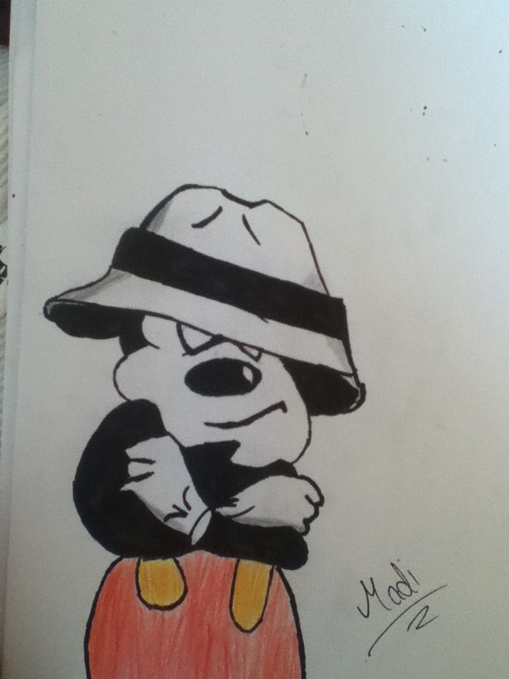 My gangster Mickey mouse drawing #pencil #sharpie #art # ...  My gangster Mic...
