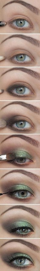 By Miss Louie. Here is a great simple tutorial on how to create a smokey green/brown eye. I'm obsessed with this combo for fall. @bloomdotcom