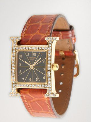 Hermes: gold and diamond 'H Hour' watch