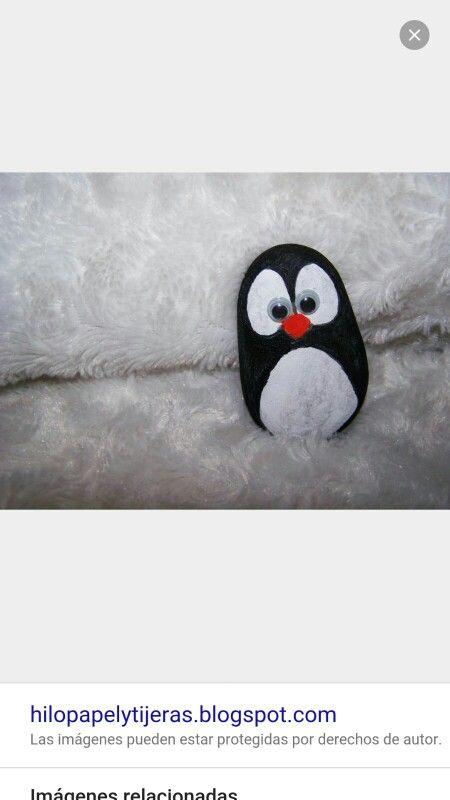 Pintar piedras pingüino