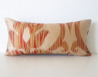 Cubierta de la almohadilla - oro - rojo - Ikat - almohada Lumbar cubierta