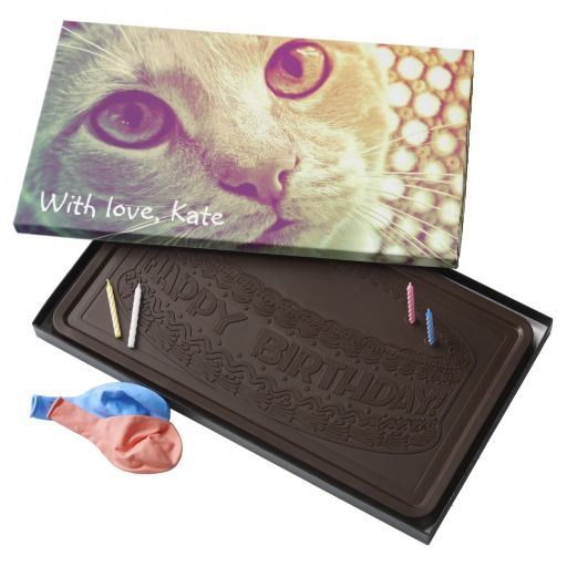 Love and Devotion close-up cat portrait - Custom text / 2 Pound Belgian Dark Chocolate Bar Box! For birthdays and more... #fomadesign
