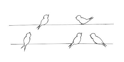 Birds on a wire embroidery pattern.