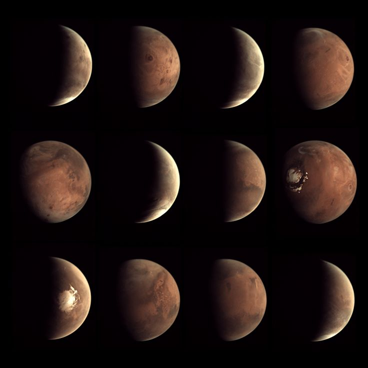 "Images of Mars taken throughout 2014 by the low-resolution Visual Monitoring Camera (VMC)--the ""Mars Webcam""--aboard the Mars Express spacecraft. ESA / Mars Express / VMC / composite by Bill Dunford."
