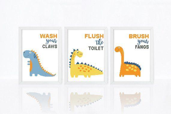 Bath Cross Stitch Pattern Set Of 3 Funny Dinos Xstitch