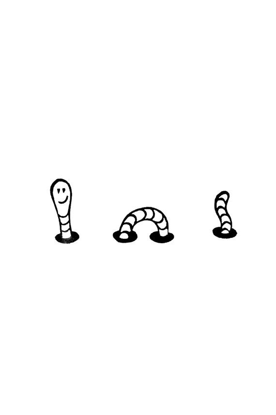 Small funny worm stamp - Cute happy worm stamp for scrapbooking, diy