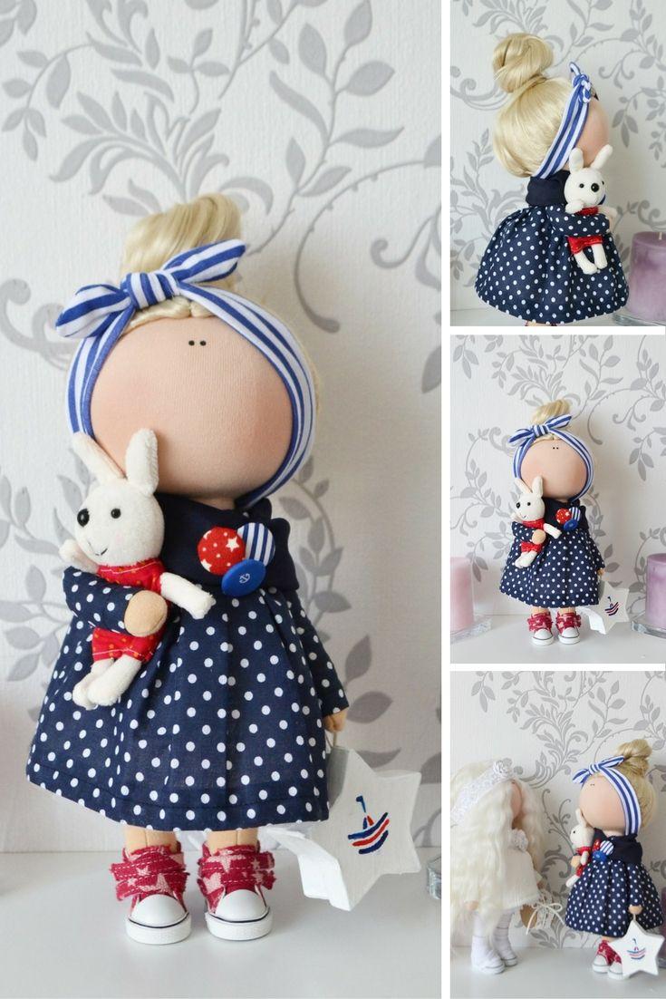 Pinup doll Fabric doll Interior doll Handmade doll Tilda doll Art doll blue doll…