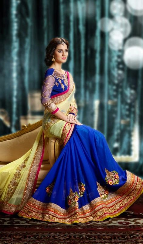 beauty dressed in this blue and cream embroidered faux georgette half n half saree. Beautified with lace, patch, resham and stones work. #ExtraordinaryTrendsetterSaree