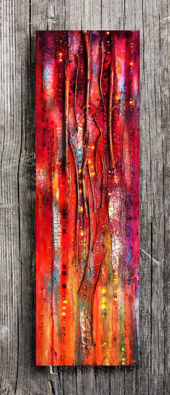 Textura abstracta pintura del Golden Gate, rojo y oro, crepitantes, grandes lona, destellos, lienzo vertical, ramita, medios mixtos, pared de cristal.