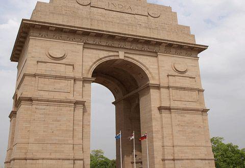 A war memorial located astride the Rajpath