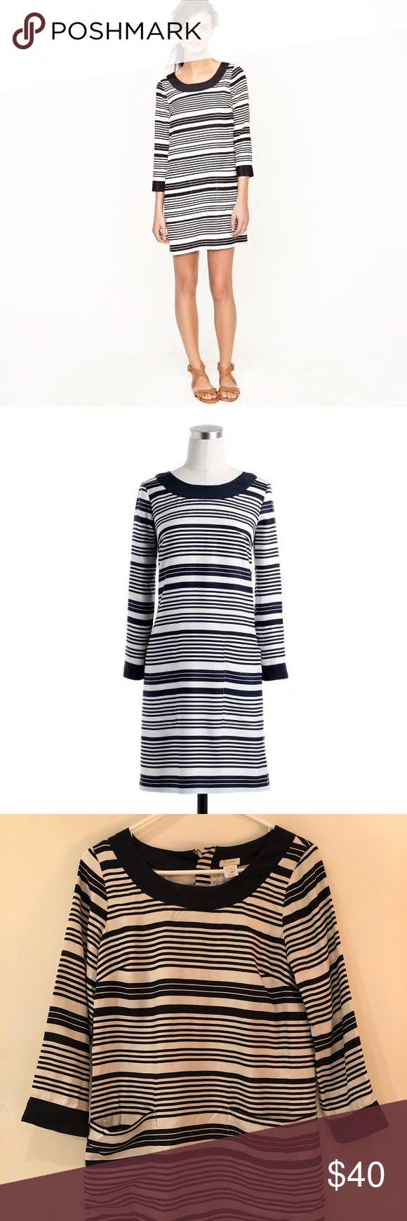 J. Crew Jules dress in silk stripe - Navy White Silk 3/4 Sleeve Striped Cocktail Dress - Deep front pockets - 100% Silk - Polyester lining - Gently worn J. Crew Dresses Mini