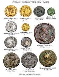 Monedas romanas más comunes, incluyendo el aureus de oro, plata y denario sestertius latón. Monedas romanas fueron producidas por primera vez en la tarde 4to siglo BCE en Italia y continuaron siendo acuñadas durante ocho siglos en todo el imperio. Denominaciones y valores más o menos cambian constantemente, pero ciertos tipos, como el sestercios y denarios persistirían y llegar a clasificar entre las monedas más famosas de la historia.