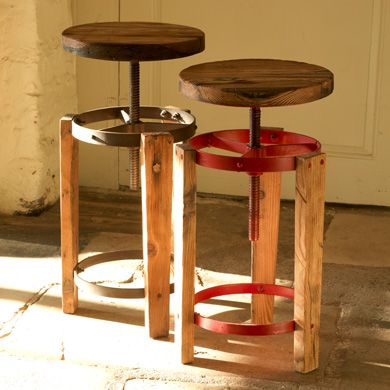 Adjustable height wooden bar stools