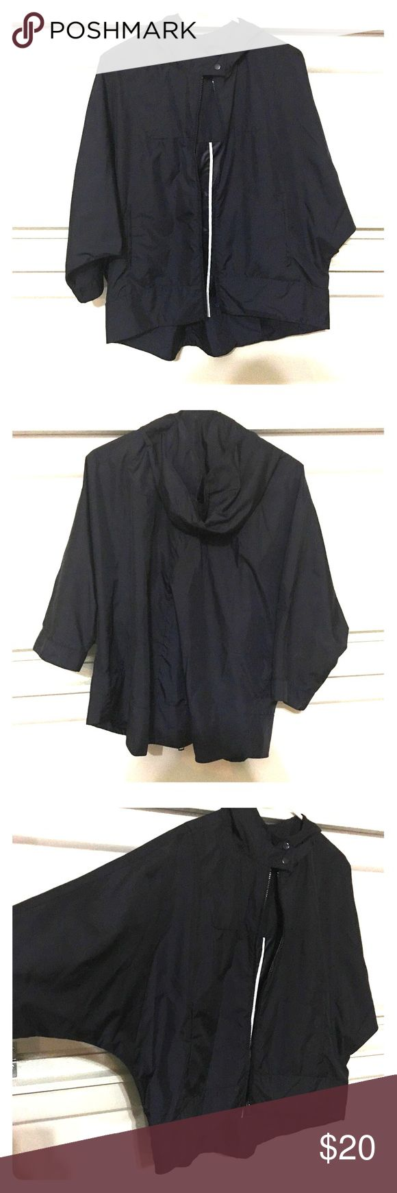 Zara rain/parka jacket Almost has a poncho look to it. Very thin material. Color navy. Zara Jackets & Coats