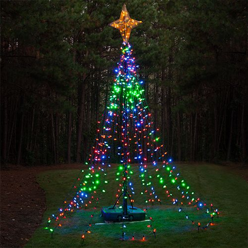 Fun DIY Christmas Idea! Make a tree out of a basketball pole and Christmas lights! This project creates a high impact outdoor Christmas lights display and can be done in any color combination or theme to match your existing outdoor Christmas decorations! #createsomethingwonderful