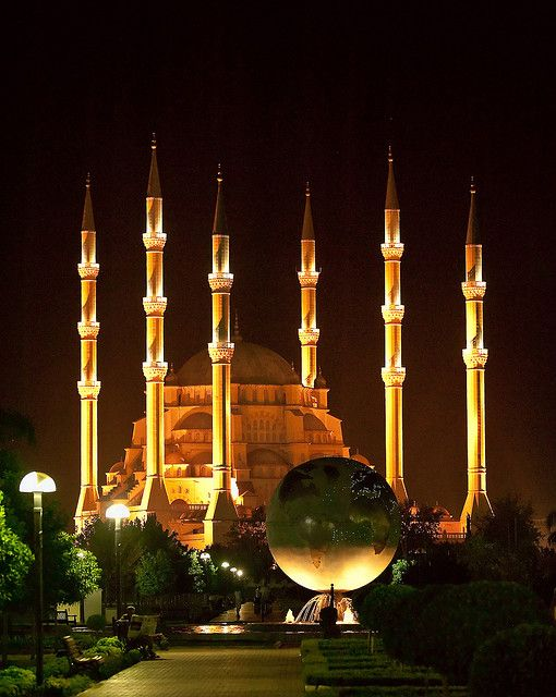 """Sabanci Mosque, Adana (Turkey) """"The truth was a mirror in the hands of God. It fell, and broke into pieces. Everybody took a piece of it, and they looked at it and thought they had the truth."""" — Rumi"""