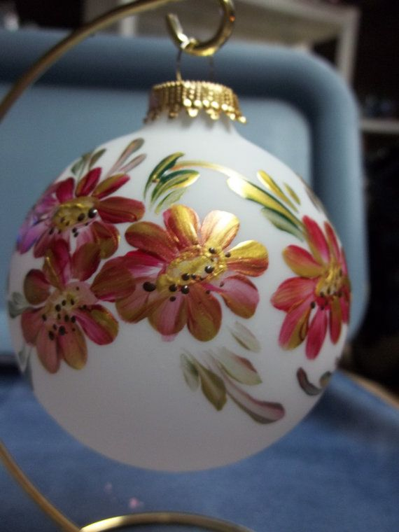 A Glass Christmas Tree Ornament Hand Painted Scandinavian Rosemaling Folk Art Style Red Gold Daisies.Teacher Gift
