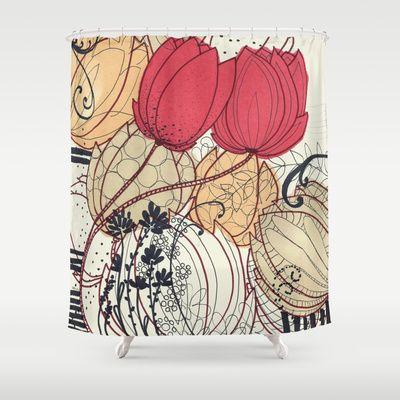tulip garden Shower Curtain by Kaju.ink - $68.00