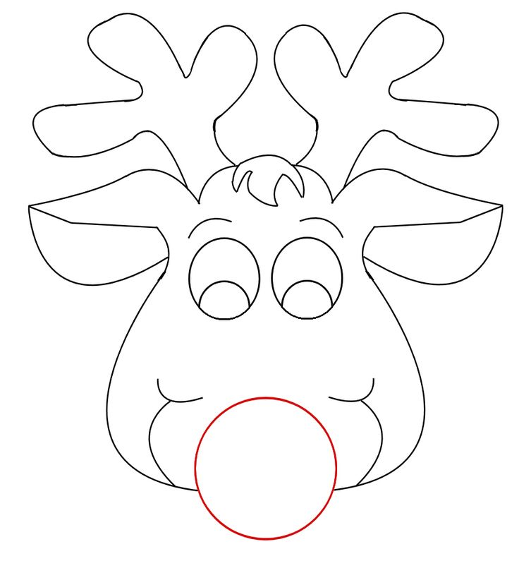 Inventive image intended for printable reindeer template