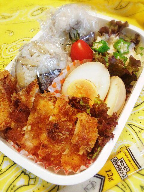 次男が、運動会だから品数多い~(^-^; - 39件のもぐもぐ - 9月27日(土) 鶏ごぼうのおこわ、味付け玉子、チキンカツ、エビフライ、ポテサラ、プチトマト by Tomoko