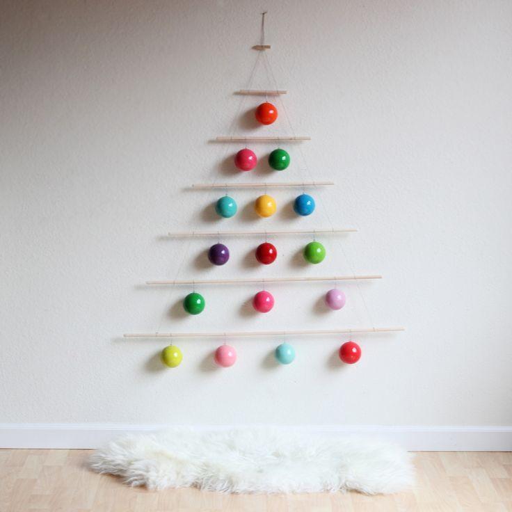 xmas tree made of dowels & ornaments