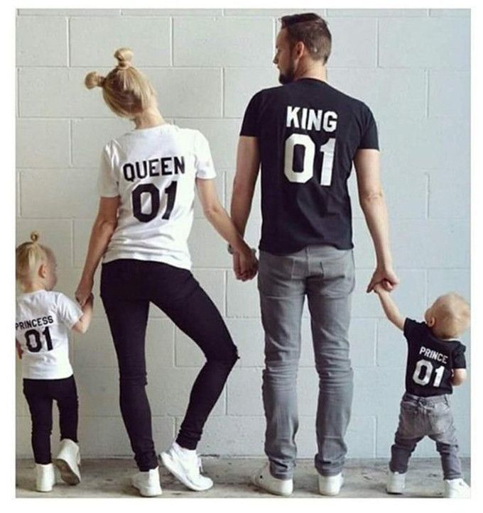 King Queen Family Matching Outfits Short-sleeved Cotton matching family clothes T-shirt Family Look Family matching clothes